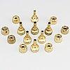 Hans-agne jakobsson, 15 small brass candlesticks, markaryd.