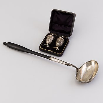 LADDLE, silver, Sweden 1805, SALT AND PEPPER CASTER, silver Birmingham 1890 and 1916.