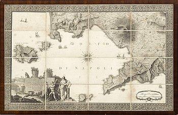"""Giovanni Antonio Rizzi Zannoni , vikkarta, """"Carta del Littorale di Napoli e de luoghi antichi più..."""" 1794."""