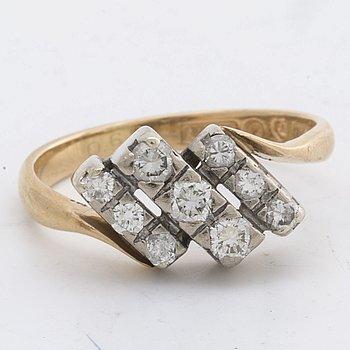 DIAMOND RING 18K gold and whitegold 9 brilliant-cut diamonds 0,64 ct engraved, ALTON Falköping 1998.