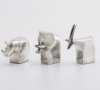 GUNNAR CYRÉN, figuriner 3 st silverpläterad metall Dansk Design Japan sent 1900-tal.