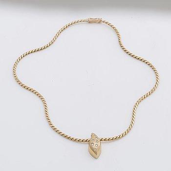 "NECKLACE 18K gold w briiliant-cut diamonds 0,24 ct in total engraved, ""Millenia-jewelley no 47"", ALTON."