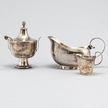 SOCKERSKÅL, SÅSSNIPA, STRÖSKED, GRÄDDSNIPA, silver, 1900-tal.