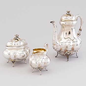A 3-piece silver coffee set, mark of Emil Hermann, Waldstetten, Germany 1921-1950. Swedish import marks.
