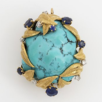 A brooch/pendat, large turquoise with brilliant-cut diamond and sapphires.