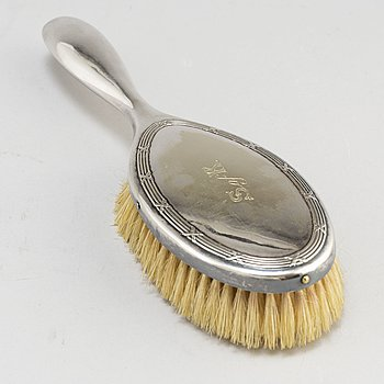 CLOTHES BRUSH, pewter, GAB and a WILLIAM HUTTON & SONS Silver Pin Cushion Box, London 1822.