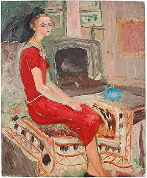 413. Sigrid Hjertén, The red dress.