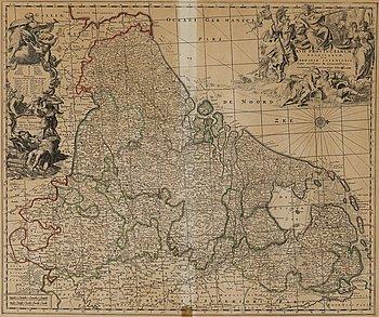 KARTA, handkolorerat kopparstick, Carel Allard, 1600-talets slut.