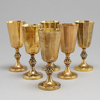A set of six 20th century silver-gilt beakers/cups, mark of Löfman MGAB, Uppsala 1971-1978.