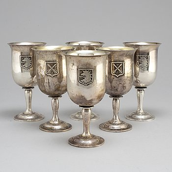 A set of six 20th century silver cups, mark of CGH, Stockholm 1957.