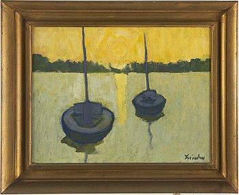 HELGE LINDEN, oil on panel, signed.