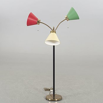 JOSEF FRANK, a brass and leather floor lamp model nr 2431.