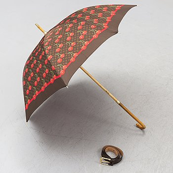 LOUIS VUITTON, paraply samt skärp.