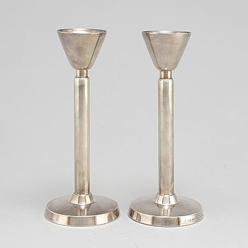 A pair of 20th century silver candlesticks, mark of Gustaf Jansson, CG Hallberg, Stockholm  1958.
