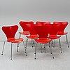 Arne jacobsen, a set of 7 'seven' chairs, fritz hansen 1988.