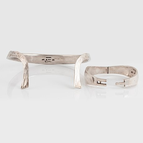 Rey urban, rey urban, a sterling silver choker and bangle, stockholm 1967 68