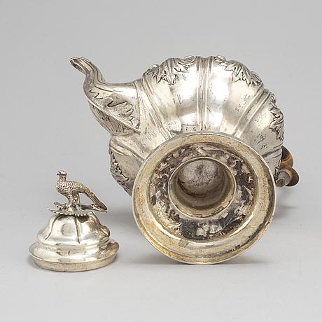 A swedish 19th century silver coffee-pot, mark of abraham edborg, jonkoping 1845.