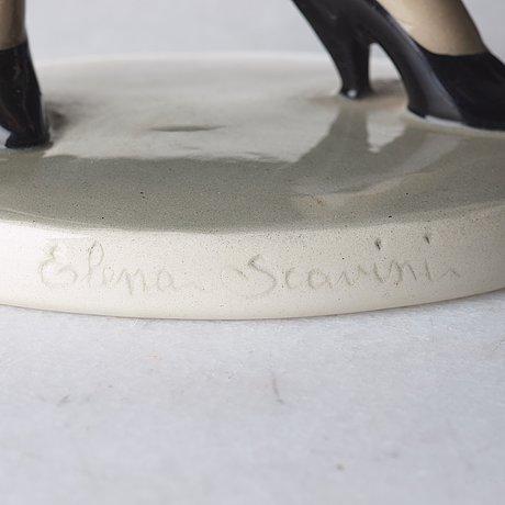 "Helen könig scavini, a ""colpo di vento"", n. 363, creamware figure, lenci, italy 1930's."