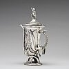A russian silver-jug modeled as a hunting horn with a bear's head, marked vaillant, st. petersburg 1858.