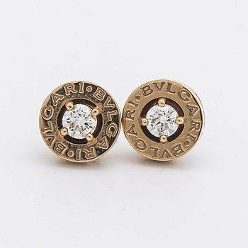 "BVULGARI EARRINGS 18K gold w 2 brilliant-cut diamonds approx 0,40 ct in total, ""B.B."" design, original case, certificate."