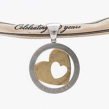 "BVLGARI pendant steel and 18k gold, ""Tondo heart"" design, certificate, original pouch."