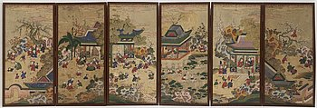 VÄGGSKÄRM, sex-delad vikskärm, tusch och färg på siden. Kina, tidigt 1900-tal.