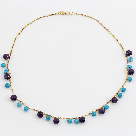 Carved turquoise and amethyst bead necklace