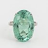 Large greenblue oval faceted tourmaline  cocktail ring.