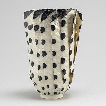 JANE REUMERT, a salt glazed porcelain vase / feather object, Copenhagen 1999.