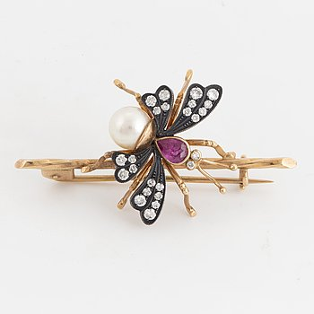 Gold, silver ruby, pearl and brilliant-cut diamonds butterfly brooch.