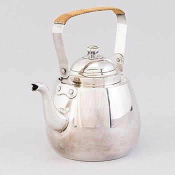 A silver coffeepot, mark of Auran Kultaseppä oy, Turku Finland 1959.
