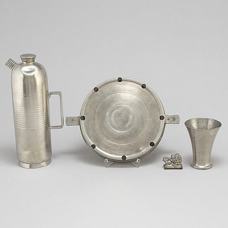 Four swedish pewter items, 1930s.