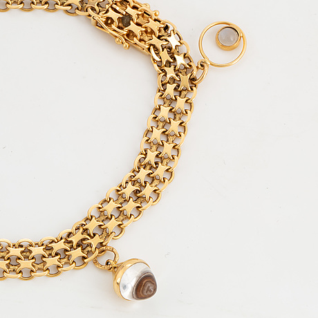 Armband, 18k guld, x länk med berlocker