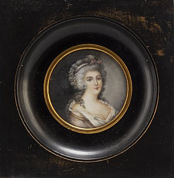 A miniature painting,after Antoine Vestier,  gouache.