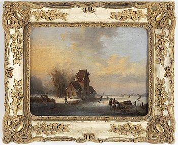 HOLLÄNDSK KONSTNÄR 1800-TAL, Osignerad. Pannå i mahogny 29,5 x 38,5 cm.