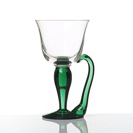 Firma svenskt tenn, a set of 17 cocktail glasses, gullaskruf, sweden 1940's, provenance estrid ericson.