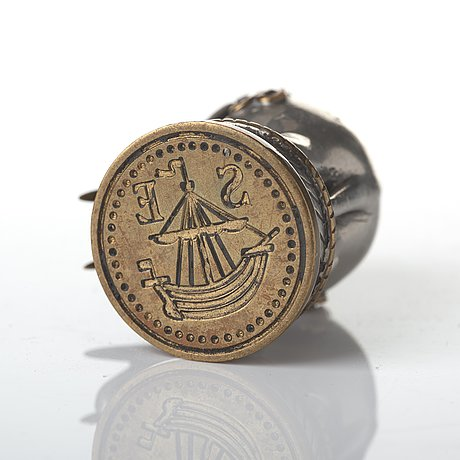 Estrid ericson, a pewter and brass seal stamp, svenskt tenn, mid 20th century, provenance estrid and sigfrid ericson.