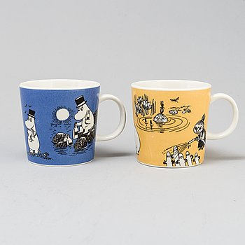 Two porcelain 'Moomin Characters' mugs from Arabia, Finland, 1991-9.