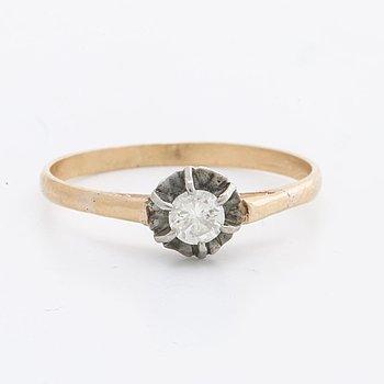 DIAMOND RING 18K gold 1 brilliant-cut diamond approx 0,20 ct.