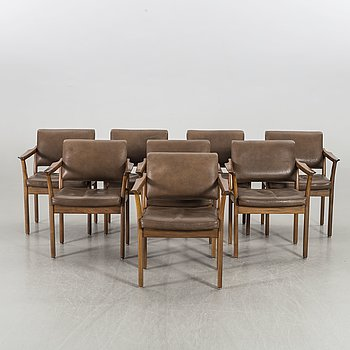 A SET OF 8 ARMCHAIRS 1960'S.