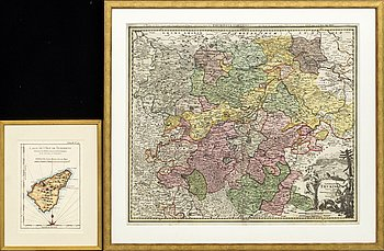 "KARTOR, 2 st, bland annat JOHANN BAPTIST HOMANN, karta, kopparstick ""Thuringae..."" Nürnberg ca 1720."
