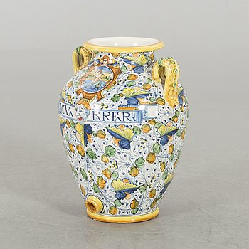 A FLOOR VASE IN URBINO STYLE, ITALY, SECOND HALF OF 20TH CENTURY.