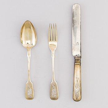 DOPSET, 3 DELAR, förgyllt silver, Moskva 1892, gaffeln stämplad av Roman Aristarhov.