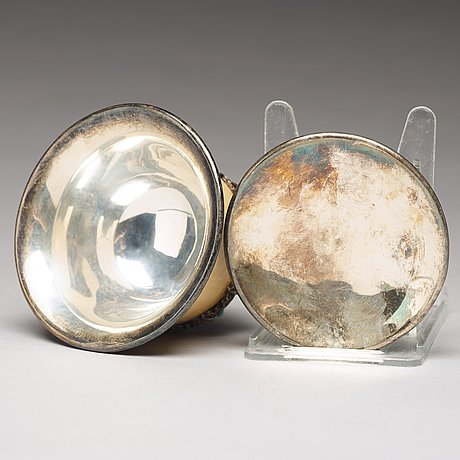 SkÅl med lock, silver, ben och turkos. tibet, 1800-tal.