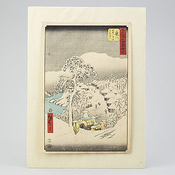 "A Japanese woodcut print after Hiroshige I (1798-1858). From ""Pictures of the 53 stations. Published by Tsutaya Kichizo."