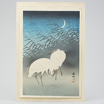 "A Japanese wood block print after Ohara Koson, 20th Century. ""Cranes"". Publisher: Watanabe Shozaburo."