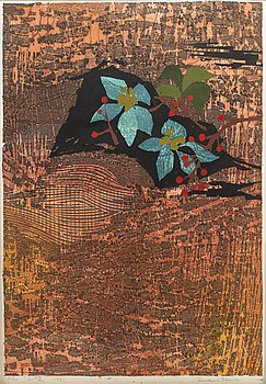 TAMAMI SHIMA (1937-1999), color litographe, Japan, signed, numbered 19/100 and dated 1961.