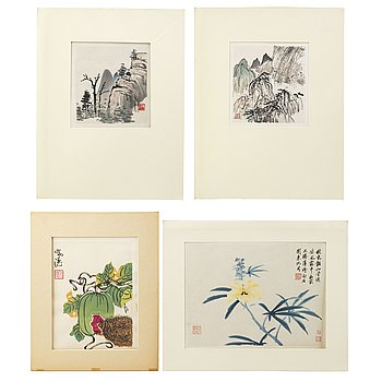 Four Chinese paintings and woodblock prints, ink and color on paper, 20th century.