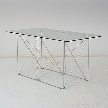 A glass dining table by IKEA.