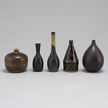 CARL-HARRY STÅLHANE, 5 unique stoneware vases, Rörstrand.